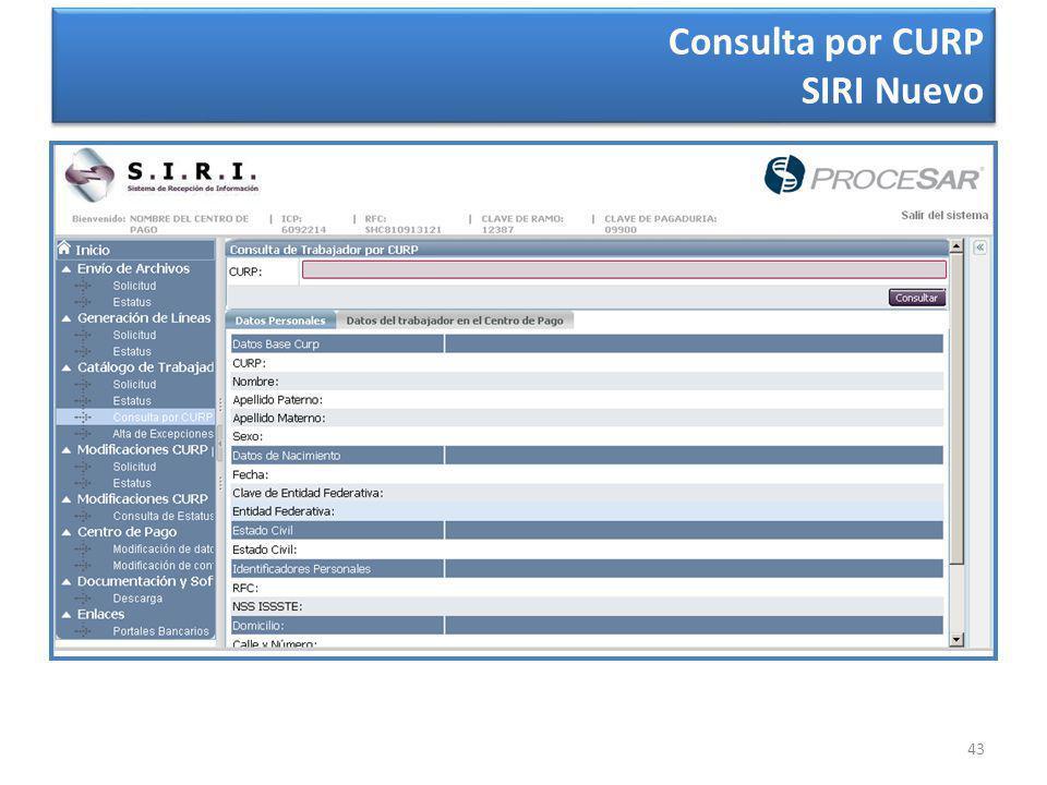 43 Consulta por CURP SIRI Nuevo