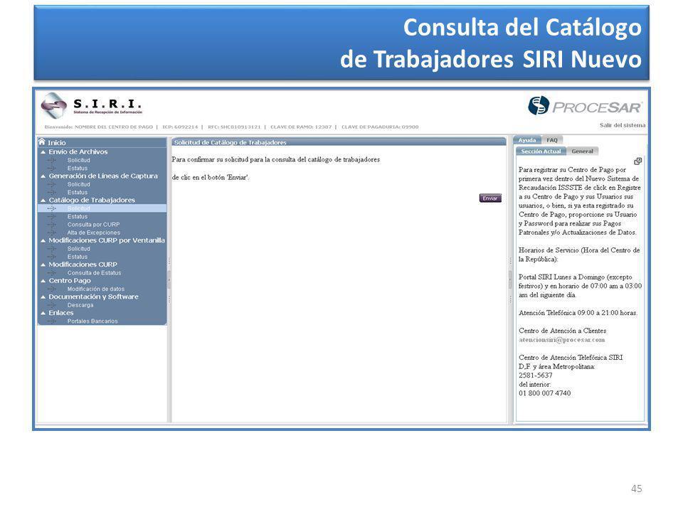45 Consulta del Catálogo de Trabajadores SIRI Nuevo Consulta del Catálogo de Trabajadores SIRI Nuevo