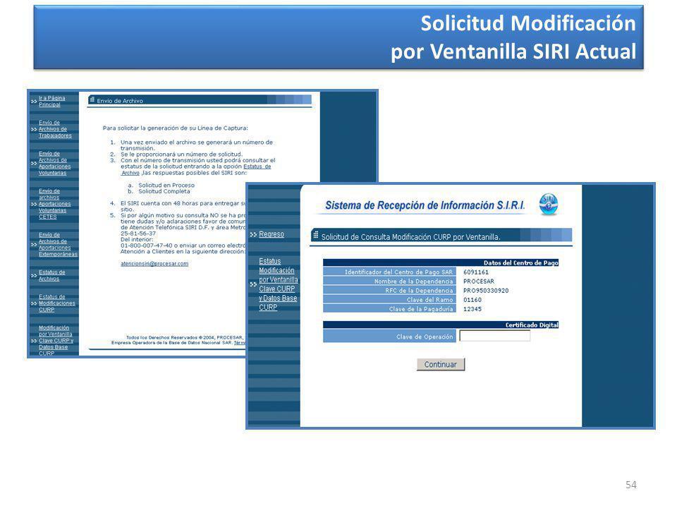 54 Solicitud Modificación por Ventanilla SIRI Actual Solicitud Modificación por Ventanilla SIRI Actual