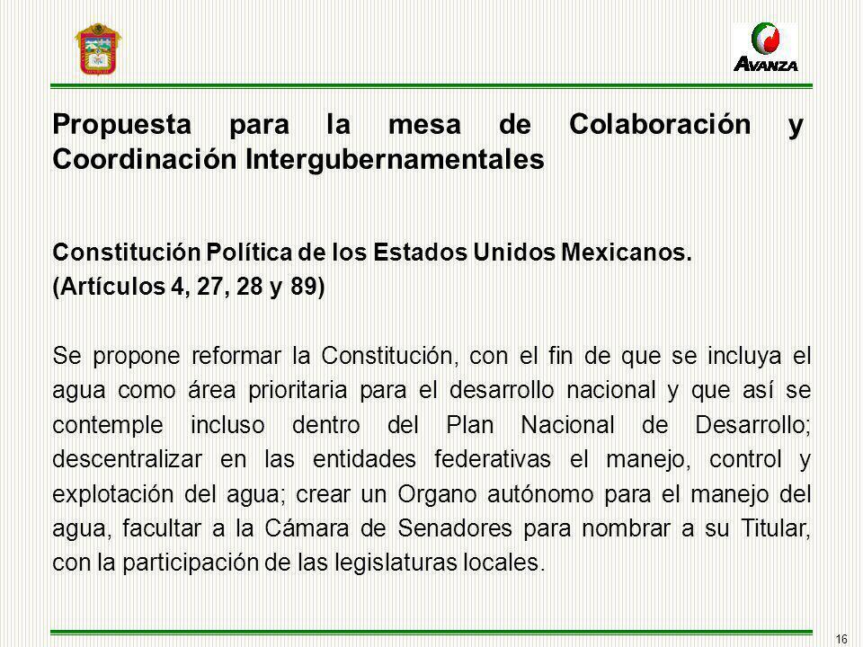 16 Propuesta para la mesa de Colaboración y Coordinación Intergubernamentales Constitución Política de los Estados Unidos Mexicanos.