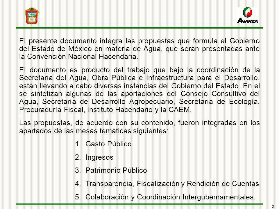 2 El presente documento integra las propuestas que formula el Gobierno del Estado de México en materia de Agua, que serán presentadas ante la Convención Nacional Hacendaria.