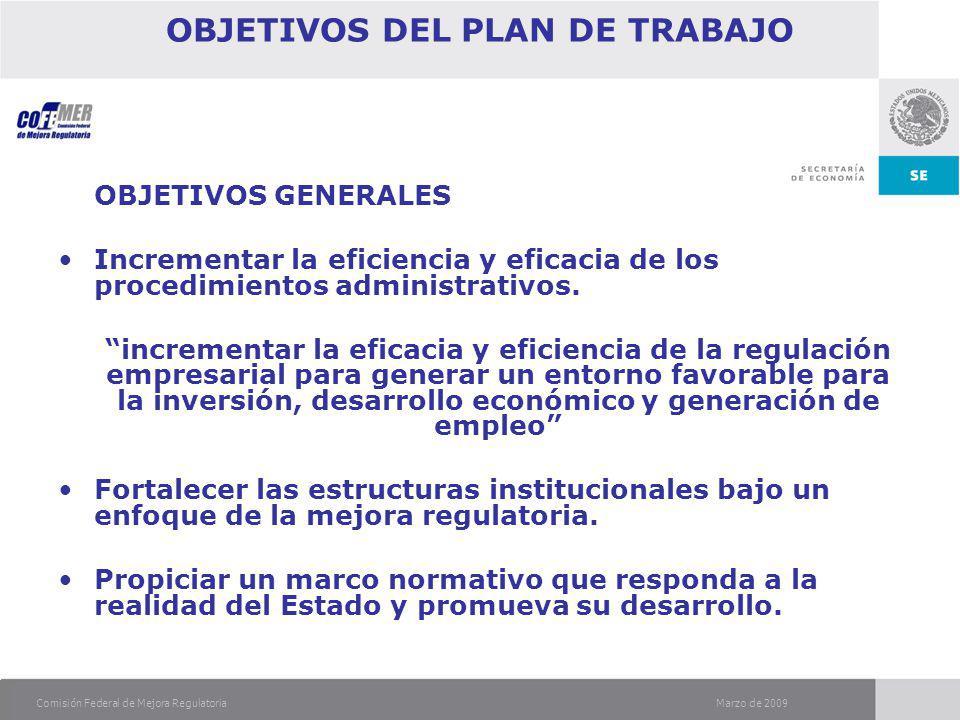 Marzo de 2009Comisión Federal de Mejora Regulatoria OBJETIVOS DEL PLAN DE TRABAJO OBJETIVOS GENERALES Incrementar la eficiencia y eficacia de los procedimientos administrativos.