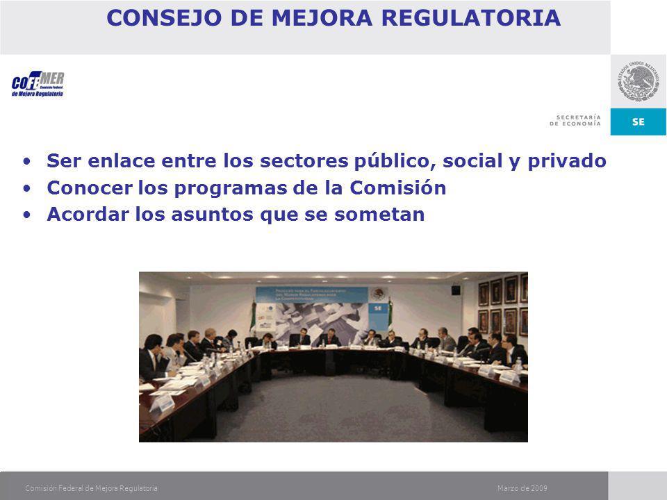 Marzo de 2009Comisión Federal de Mejora Regulatoria CONSEJO DE MEJORA REGULATORIA Ser enlace entre los sectores público, social y privado Conocer los programas de la Comisión Acordar los asuntos que se sometan
