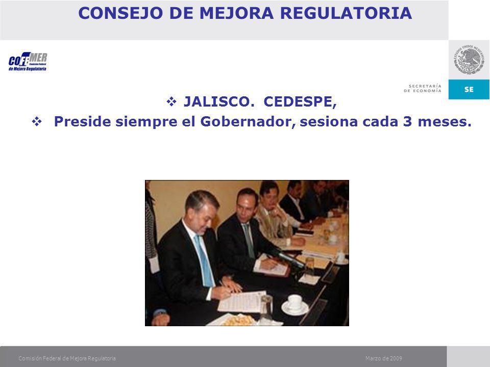 Marzo de 2009Comisión Federal de Mejora Regulatoria CONSEJO DE MEJORA REGULATORIA JALISCO.