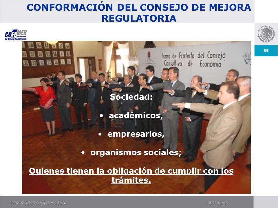 Marzo de 2009Comisión Federal de Mejora Regulatoria OBJETIVO DEL CONSEJO DE MEJORA REGULATORIA Identificar: Normatividad obsoleta.
