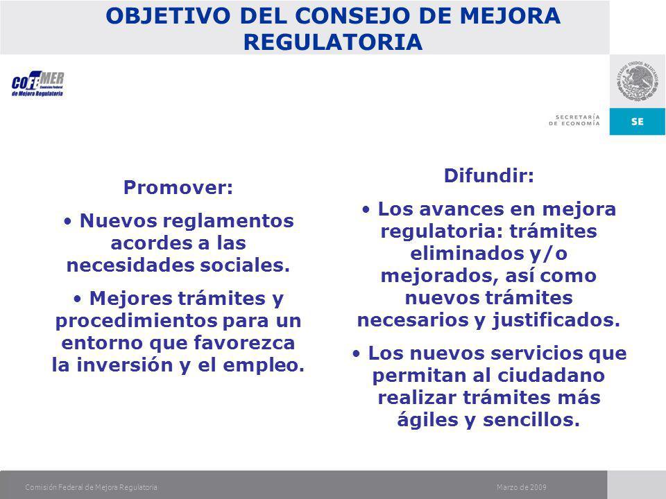 Marzo de 2009Comisión Federal de Mejora Regulatoria OBJETIVO DEL CONSEJO DE MEJORA REGULATORIA Promover: Nuevos reglamentos acordes a las necesidades sociales.