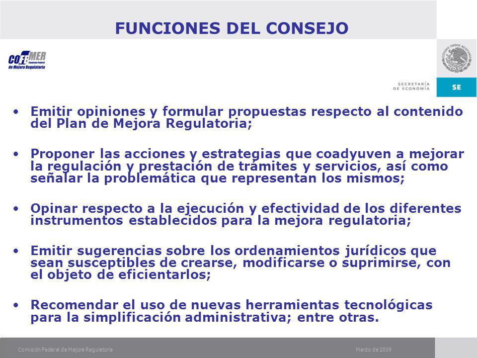 Marzo de 2009Comisión Federal de Mejora Regulatoria FUNCIONES DEL CONSEJO Emitir opiniones y formular propuestas respecto al contenido del Plan de Mejora Regulatoria; Proponer las acciones y estrategias que coadyuven a mejorar la regulación y prestación de trámites y servicios, así como señalar la problemática que representan los mismos; Opinar respecto a la ejecución y efectividad de los diferentes instrumentos establecidos para la mejora regulatoria; Emitir sugerencias sobre los ordenamientos jurídicos que sean susceptibles de crearse, modificarse o suprimirse, con el objeto de eficientarlos; Recomendar el uso de nuevas herramientas tecnológicas para la simplificación administrativa; entre otras.
