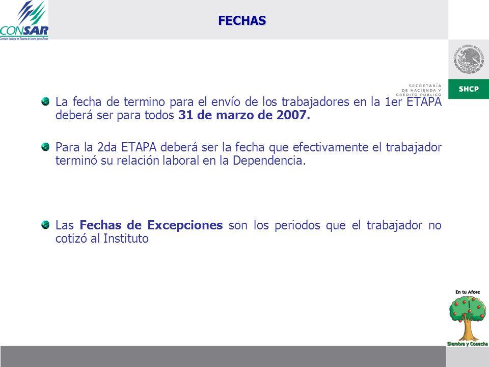 La fecha de termino para el envío de los trabajadores en la 1er ETAPA deberá ser para todos 31 de marzo de 2007. Para la 2da ETAPA deberá ser la fecha