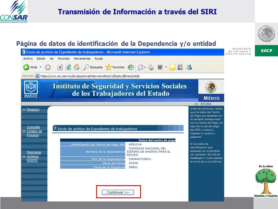 Página de datos de identificación de la Dependencia y/o entidad Transmisión de Información a través del SIRI