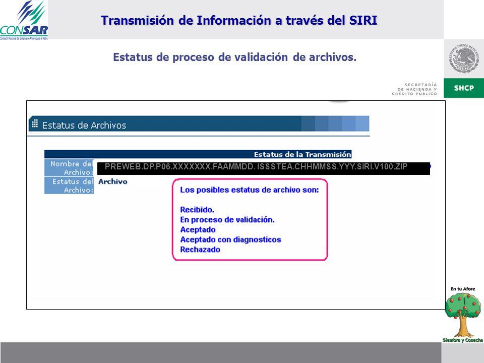 Estatus de proceso de validación de archivos. PREWEB.DP.P06.XXXXXXX.FAAMMDD. ISSSTEA.CHHMMSS.YYY.SIRI.V100.ZIP Transmisión de Información a través del