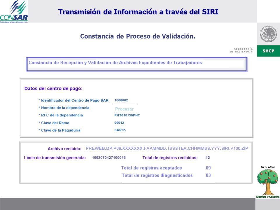 Procesar PREWEB.DP.P06.XXXXXXX.FAAMMDD. ISSSTEA.CHHMMSS.YYY.SIRI.V100.ZIP Constancia de Proceso de Validación. Transmisión de Información a través del