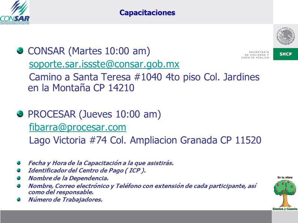 CONSAR (Martes 10:00 am) soporte.sar.issste@consar.gob.mx Camino a Santa Teresa #1040 4to piso Col. Jardines en la Montaña CP 14210 PROCESAR (Jueves 1