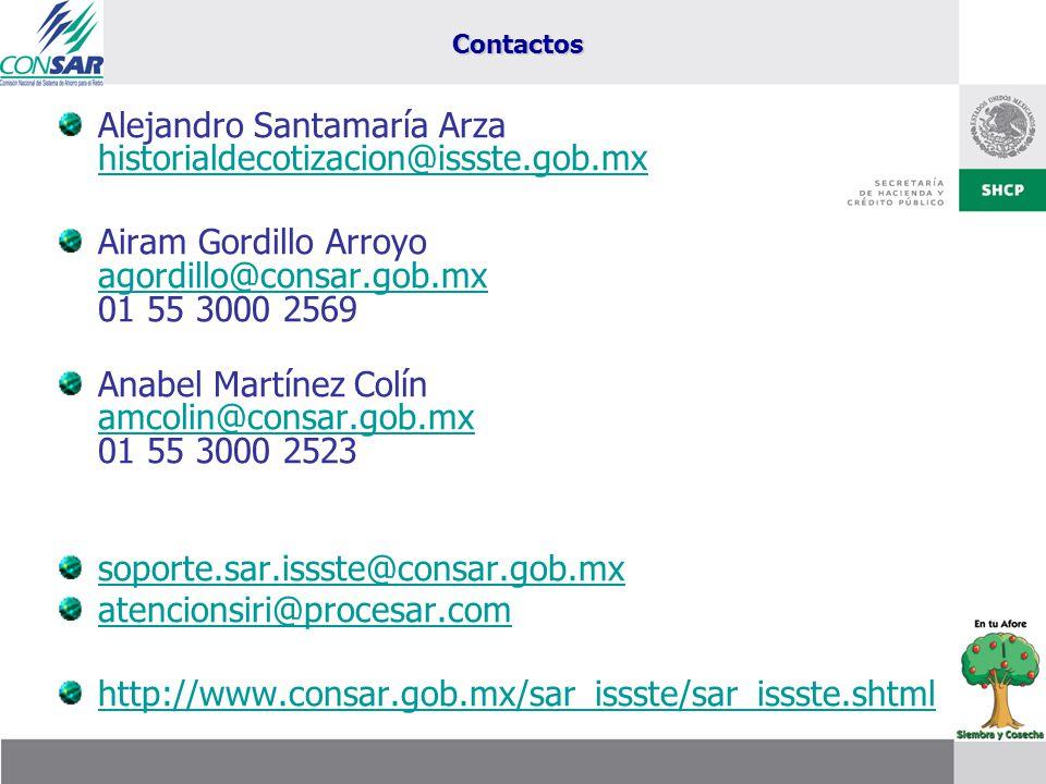Alejandro Santamaría Arza historialdecotizacion@issste.gob.mx historialdecotizacion@issste.gob.mx Airam Gordillo Arroyo agordillo@consar.gob.mx 01 55