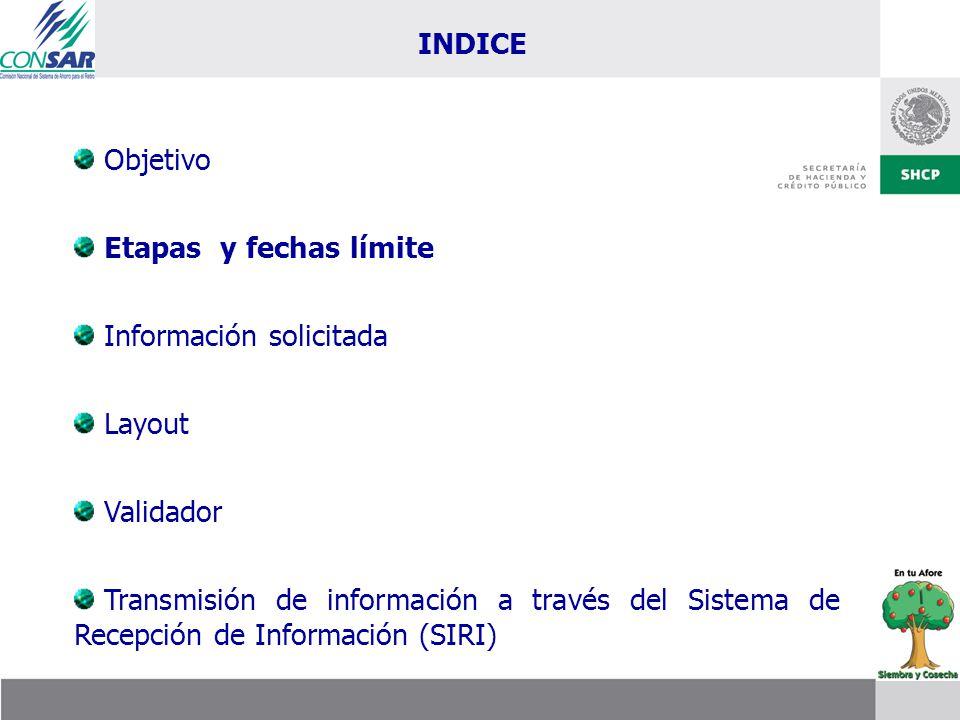Objetivo Etapas y fechas límite Información solicitada Layout Validador Transmisión de información a través del Sistema de Recepción de Información (S