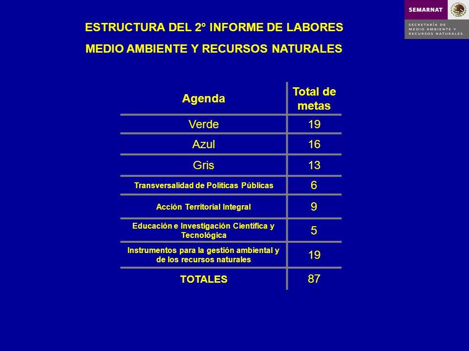 Agenda Total de metas Verde19 Azul16 Gris13 Transversalidad de Políticas Públicas 6 Acción Territorial Integral 9 Educación e Investigación Científica