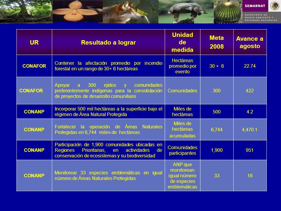 URResultado a lograr Unidad de medida Meta 2008 Avance a agosto CONAFOR Contener la afectación promedio por incendio forestal en un rango de 30+ 6 hec