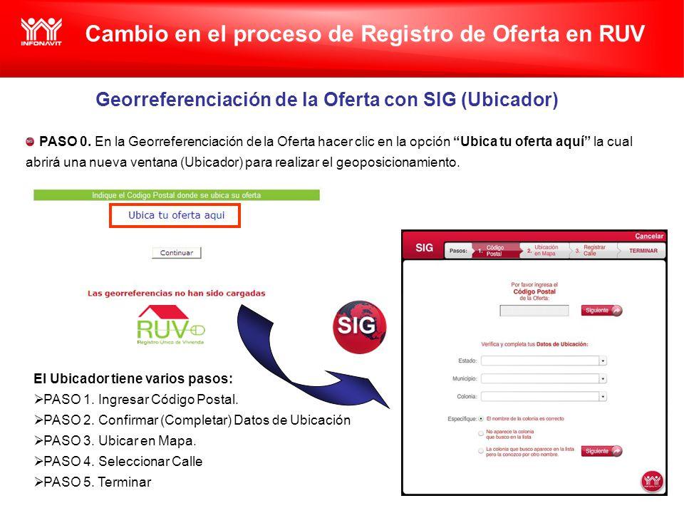 Cambio en el proceso de Registro de Oferta en RUV Georreferenciación de la Oferta con SIG (Ubicador) PASO 0.