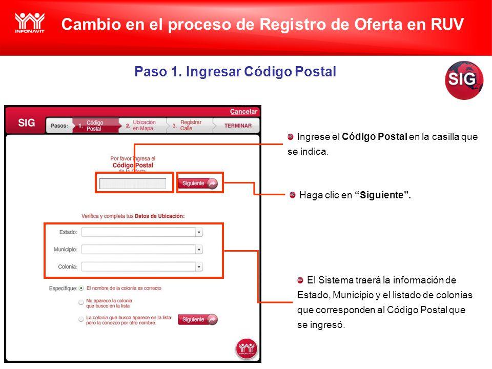 Cambio en el proceso de Registro de Oferta en RUV Paso 1.