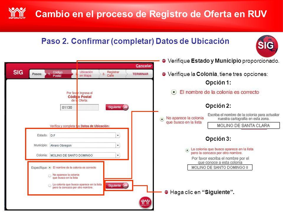 Cambio en el proceso de Registro de Oferta en RUV Paso 2.
