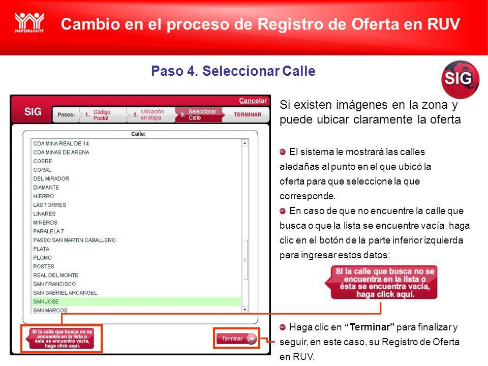 Cambio en el proceso de Registro de Oferta en RUV Paso 4.
