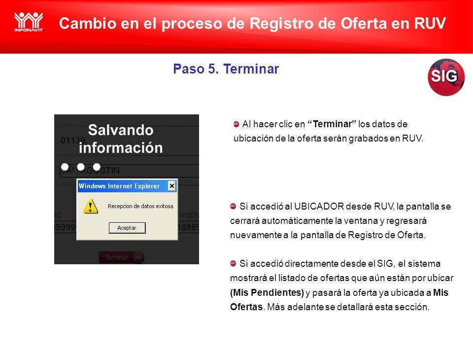 Cambio en el proceso de Registro de Oferta en RUV Paso 5.