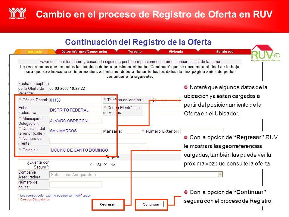 Cambio en el proceso de Registro de Oferta en RUV Continuación del Registro de la Oferta Notará que algunos datos de la ubicación ya están cargados a partir del posicionamiento de la Oferta en el Ubicador.