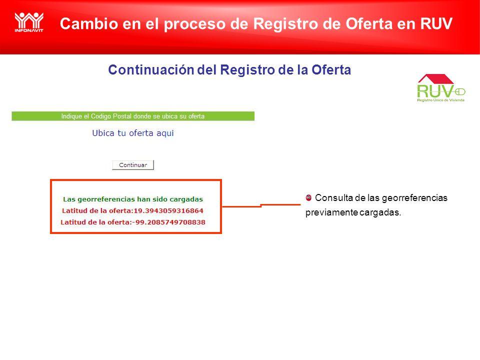 Cambio en el proceso de Registro de Oferta en RUV Continuación del Registro de la Oferta Consulta de las georreferencias previamente cargadas.