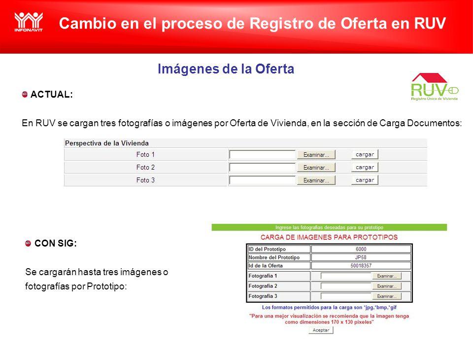 Cambio en el proceso de Registro de Oferta en RUV Imágenes de la Oferta ACTUAL: En RUV se cargan tres fotografías o imágenes por Oferta de Vivienda, en la sección de Carga Documentos: CON SIG: Se cargarán hasta tres imágenes o fotografías por Prototipo: