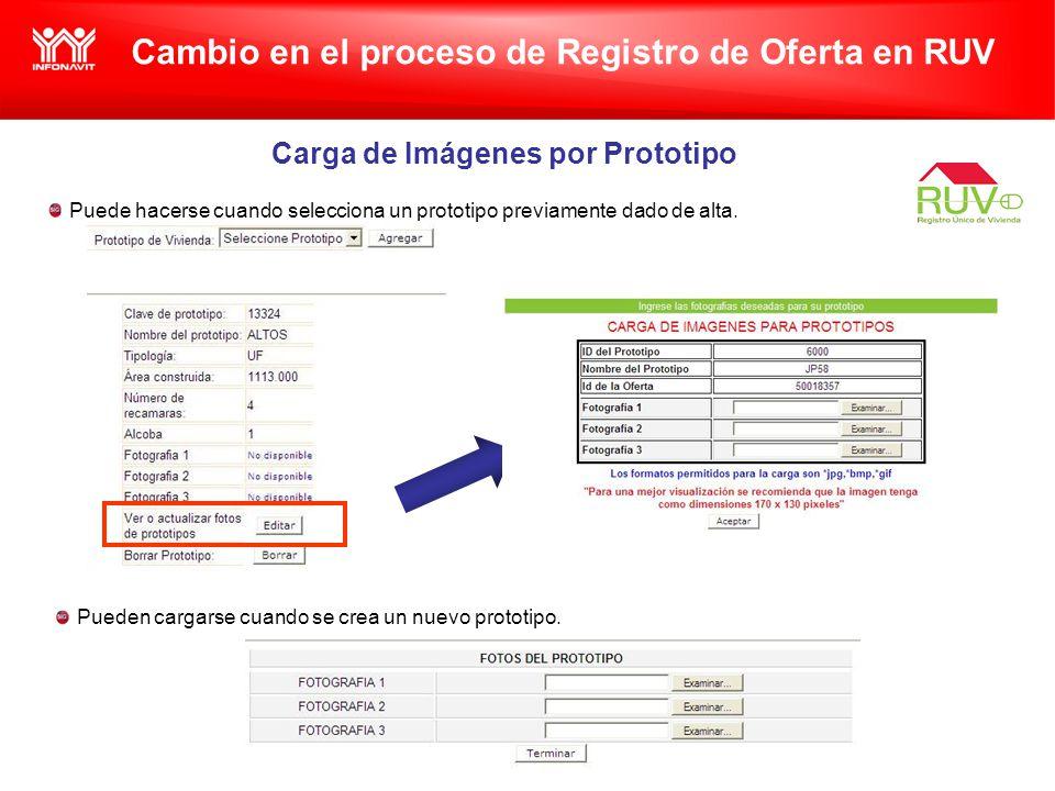 Cambio en el proceso de Registro de Oferta en RUV Carga de Imágenes por Prototipo Puede hacerse cuando selecciona un prototipo previamente dado de alta.