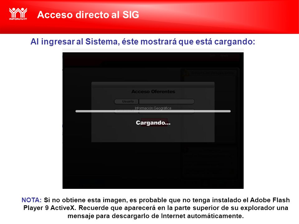 Acceso directo al SIG Al ingresar al Sistema, éste mostrará que está cargando: NOTA: Si no obtiene esta imagen, es probable que no tenga instalado el Adobe Flash Player 9 ActiveX.