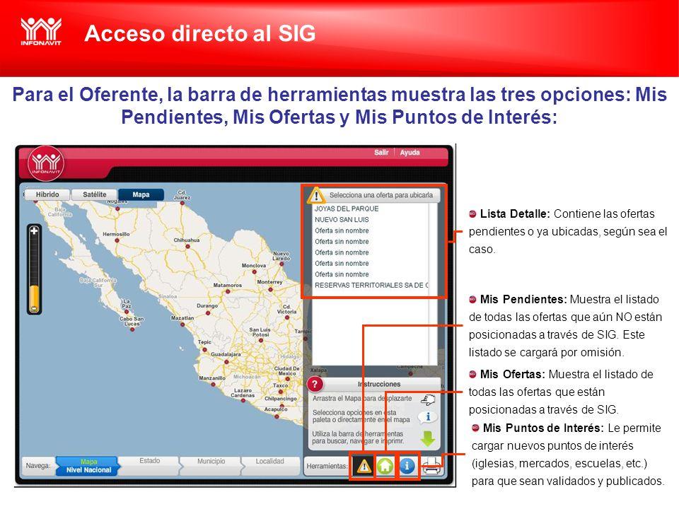 Acceso directo al SIG Para el Oferente, la barra de herramientas muestra las tres opciones: Mis Pendientes, Mis Ofertas y Mis Puntos de Interés: Mis Pendientes: Muestra el listado de todas las ofertas que aún NO están posicionadas a través de SIG.