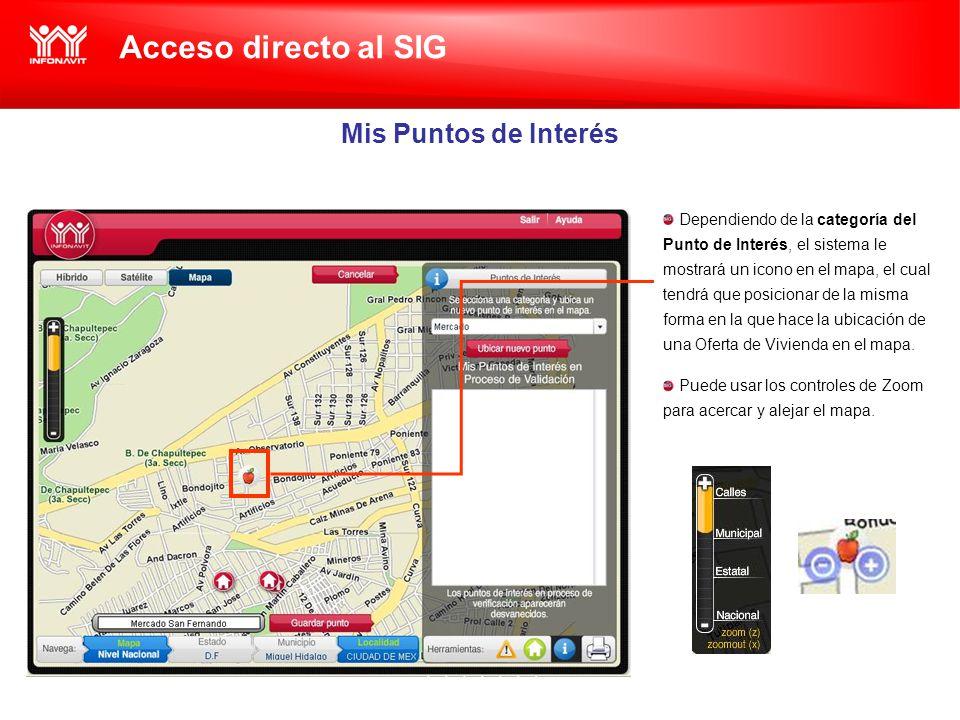 Acceso directo al SIG Mis Puntos de Interés Dependiendo de la categoría del Punto de Interés, el sistema le mostrará un icono en el mapa, el cual tendrá que posicionar de la misma forma en la que hace la ubicación de una Oferta de Vivienda en el mapa.