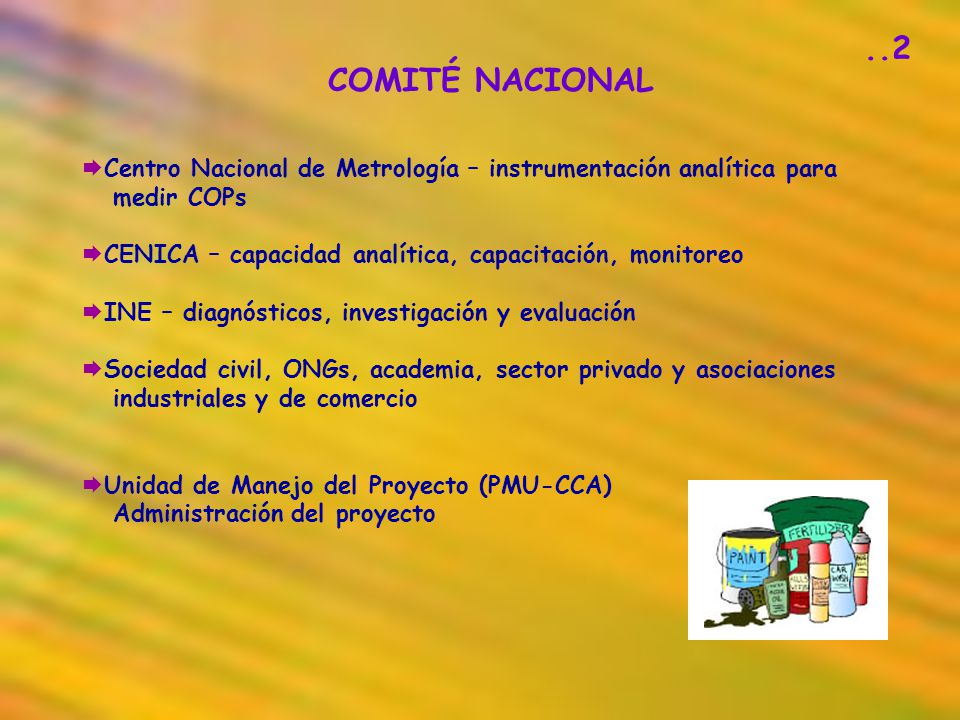 COMITÉ NACIONAL Centro Nacional de Metrología – instrumentación analítica para medir COPs CENICA – capacidad analítica, capacitación, monitoreo INE –