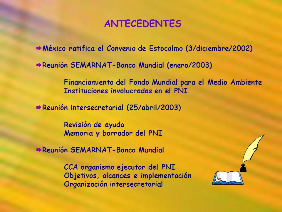 ANTECEDENTES México ratifica el Convenio de Estocolmo (3/diciembre/2002) Reunión SEMARNAT-Banco Mundial (enero/2003) Financiamiento del Fondo Mundial