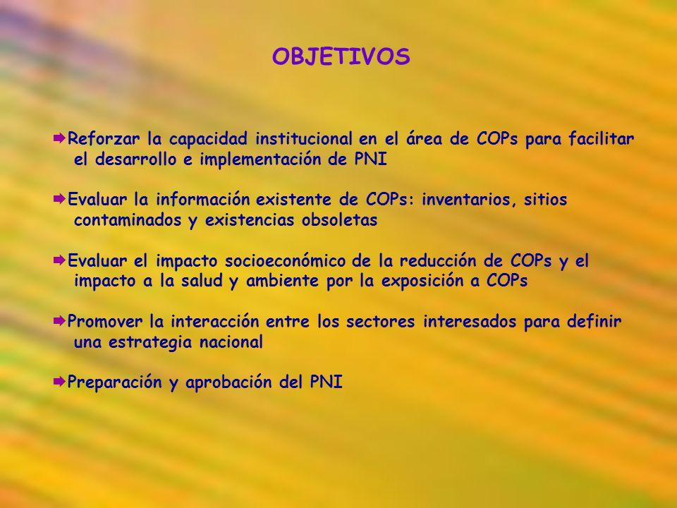 OBJETIVOS Reforzar la capacidad institucional en el área de COPs para facilitar el desarrollo e implementación de PNI Evaluar la información existente