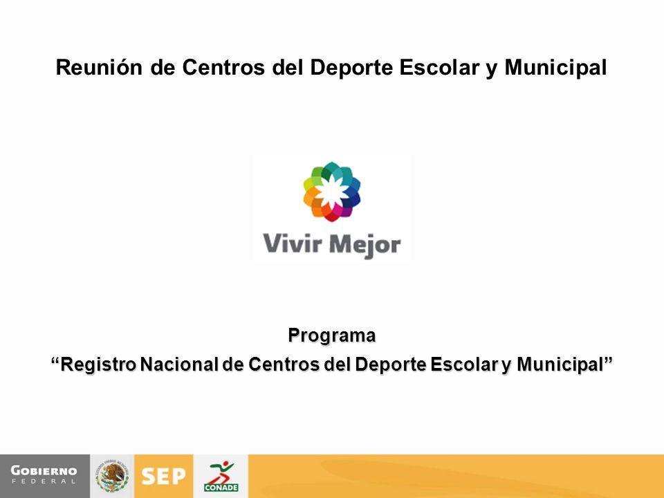 Reunión de Centros del Deporte Escolar y Municipal Programa Registro Nacional de Centros del Deporte Escolar y Municipal