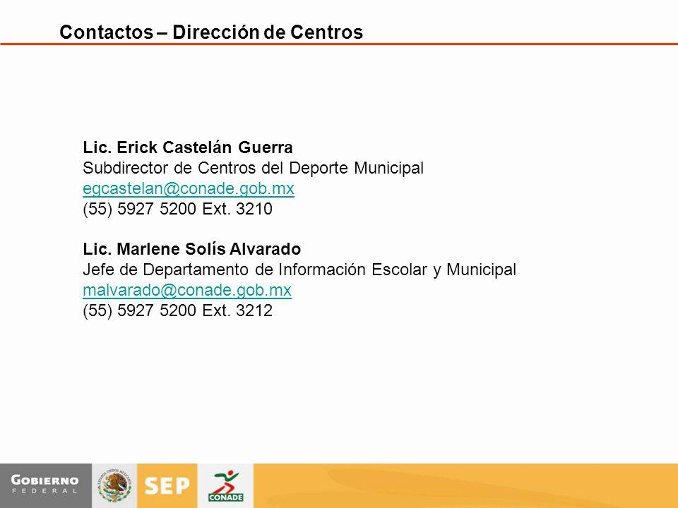 Contactos – Dirección de Centros Lic.