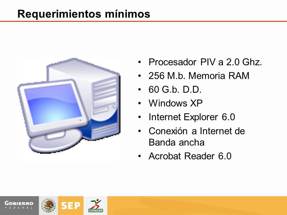 Requerimientos mínimos Procesador PIV a 2.0 Ghz. 256 M.b.
