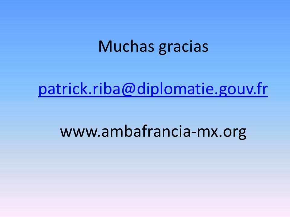 Muchas gracias patrick.riba@diplomatie.gouv.fr www.ambafrancia-mx.org patrick.riba@diplomatie.gouv.fr