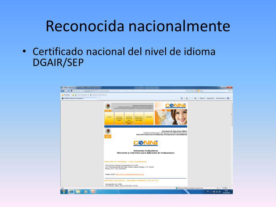Certificado nacional del nivel de idioma DGAIR/SEP Reconocida nacionalmente