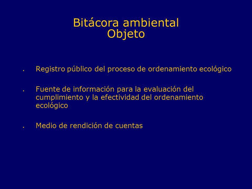 Bitácora ambiental Objeto Registro público del proceso de ordenamiento ecológico Fuente de información para la evaluación del cumplimiento y la efecti
