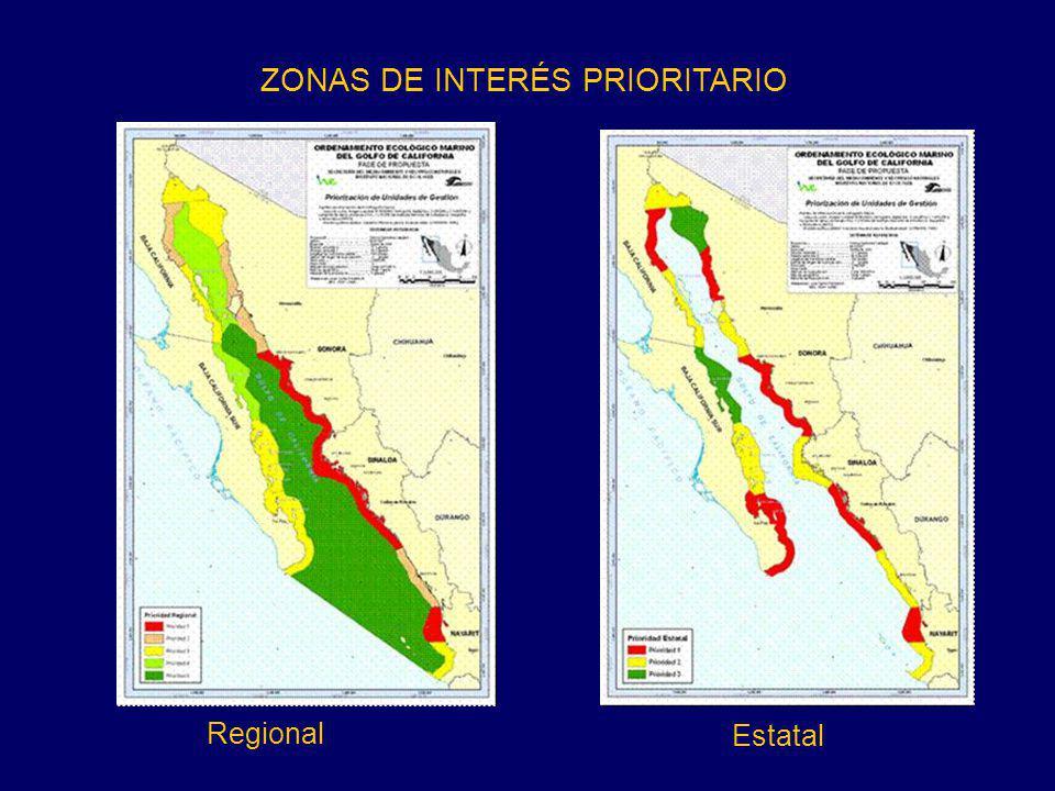 ZONAS DE INTERÉS PRIORITARIO Regional Estatal