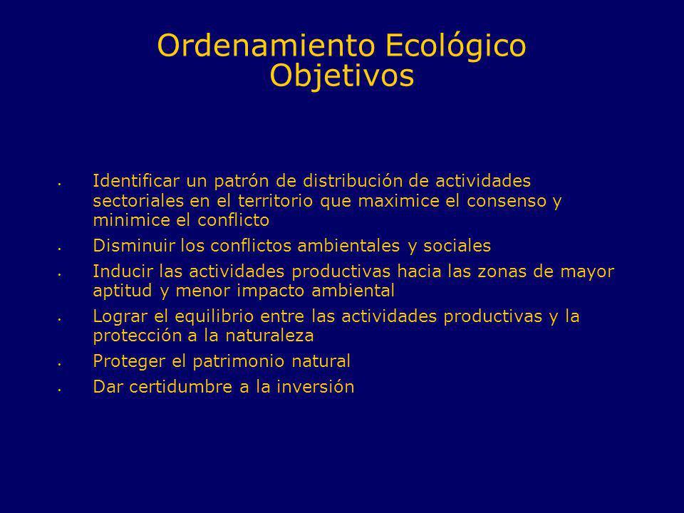 Ordenamiento Ecológico Objetivos Identificar un patrón de distribución de actividades sectoriales en el territorio que maximice el consenso y minimice