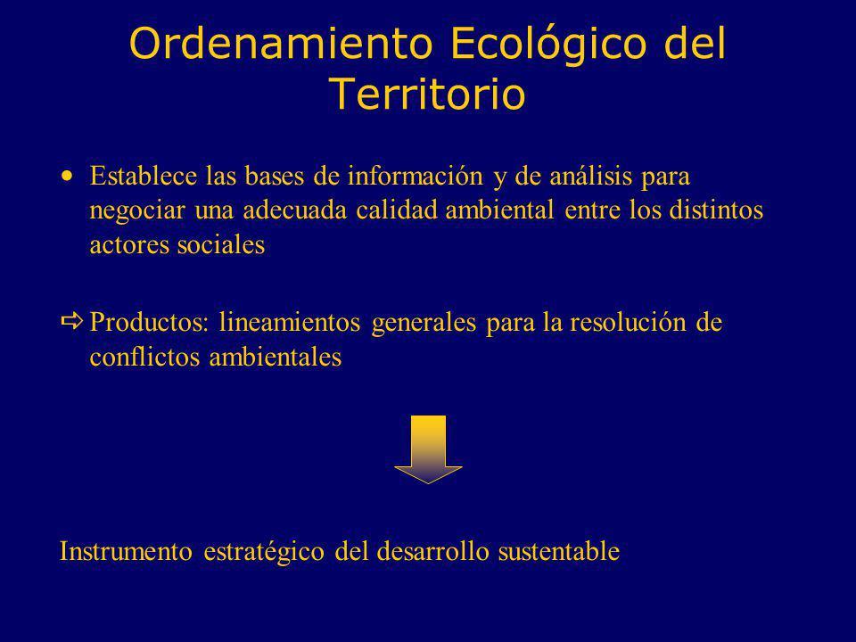 Ordenamiento Ecológico del Territorio Establece las bases de información y de análisis para negociar una adecuada calidad ambiental entre los distinto