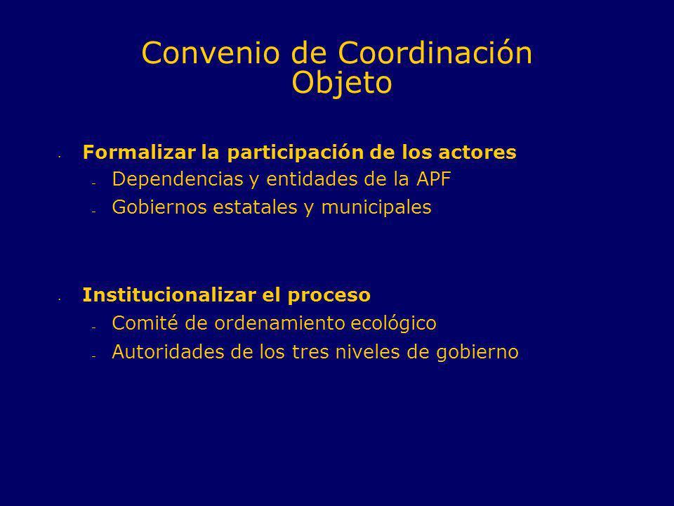 Formalizar la participación de los actores – Dependencias y entidades de la APF – Gobiernos estatales y municipales Institucionalizar el proceso – Com