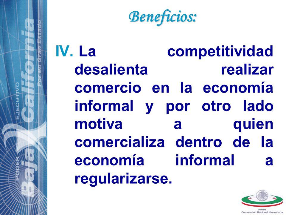 IV. La competitividad desalienta realizar comercio en la economía informal y por otro lado motiva a quien comercializa dentro de la economía informal