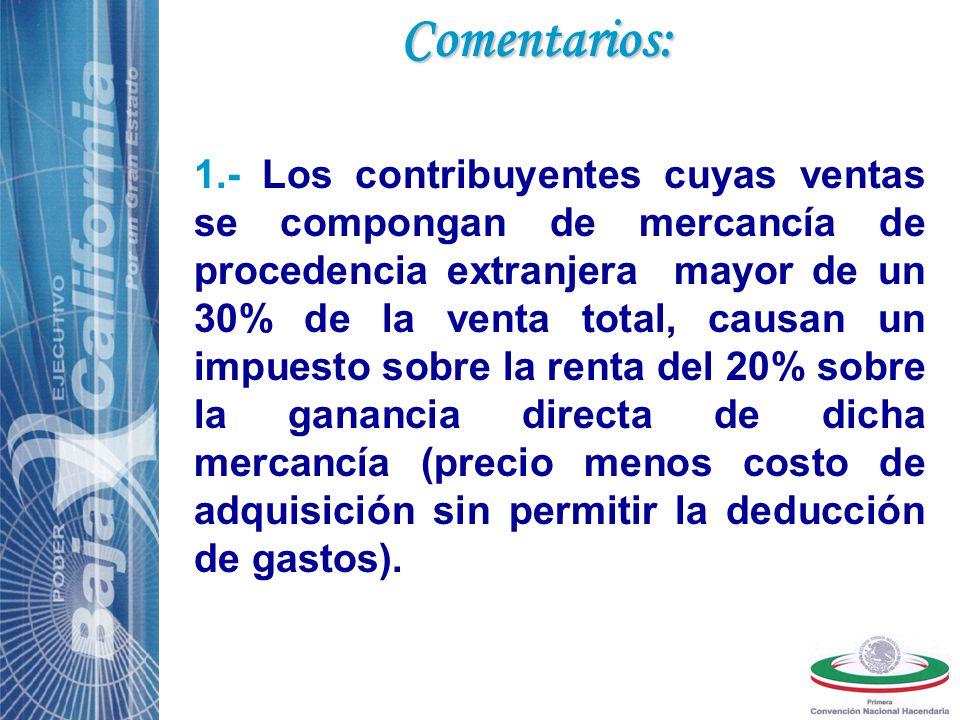 Comentarios: 2.- Dicho costo impositivo encarece el precio para el consumidor final dejándolo fuera de competencia respecto al competidor extranjero y otros contribuyentes nacionales (régimen general de Ley).