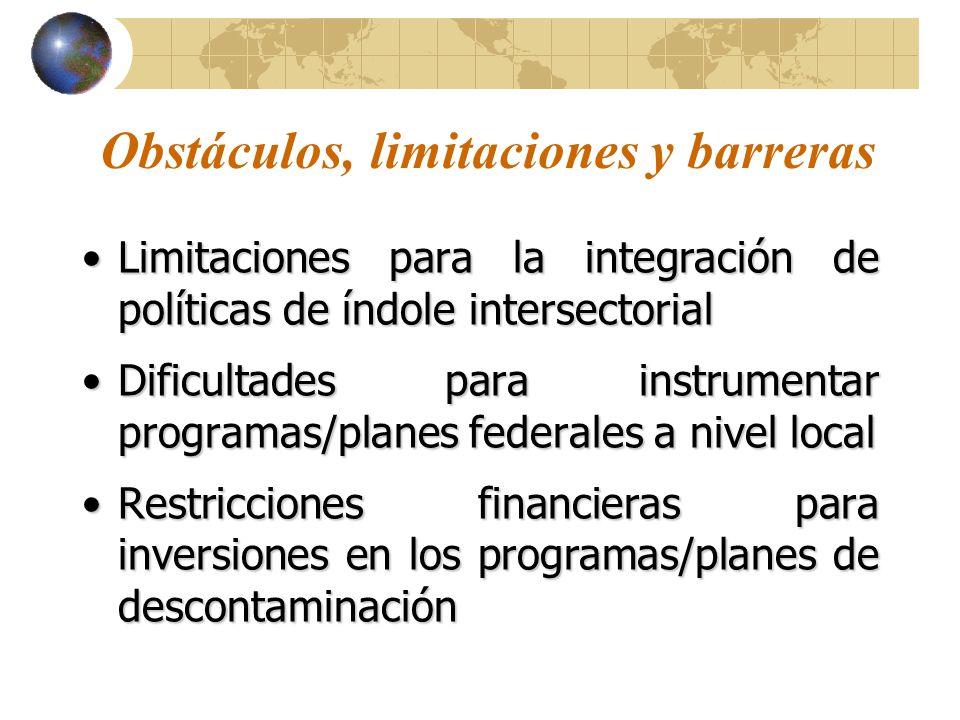 Obstáculos, limitaciones y barreras Limitaciones para la integración de políticas de índole intersectorialLimitaciones para la integración de políticas de índole intersectorial Dificultades para instrumentar programas/planes federales a nivel localDificultades para instrumentar programas/planes federales a nivel local Restricciones financieras para inversiones en los programas/planes de descontaminaciónRestricciones financieras para inversiones en los programas/planes de descontaminación