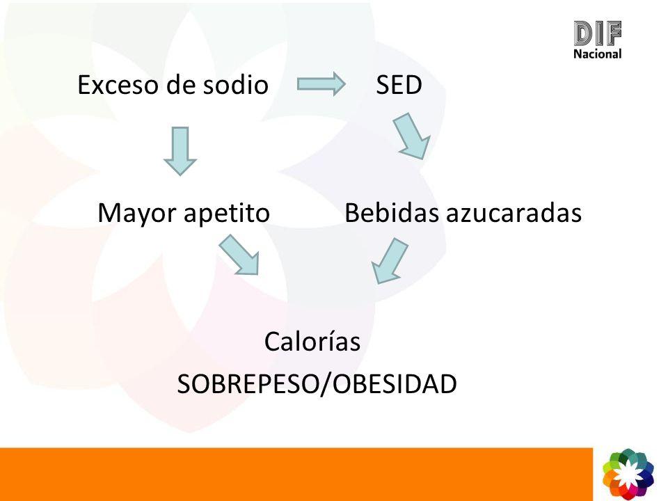 Exceso de sodio SED Mayor apetito Bebidas azucaradas Calorías SOBREPESO/OBESIDAD