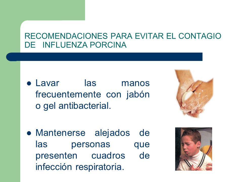 RECOMENDACIONES PARA EVITAR EL CONTAGIO DE INFLUENZA PORCINA No saludar de mano o de beso a ninguna persona.